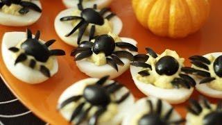 Spider Topped Deviled Eggs