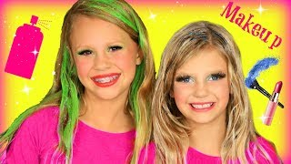 Silly Colorful Hair and Makeup Challenge Tutorial
