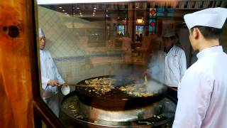 Shanghai. Mongolian Barbecue. Cooking show.