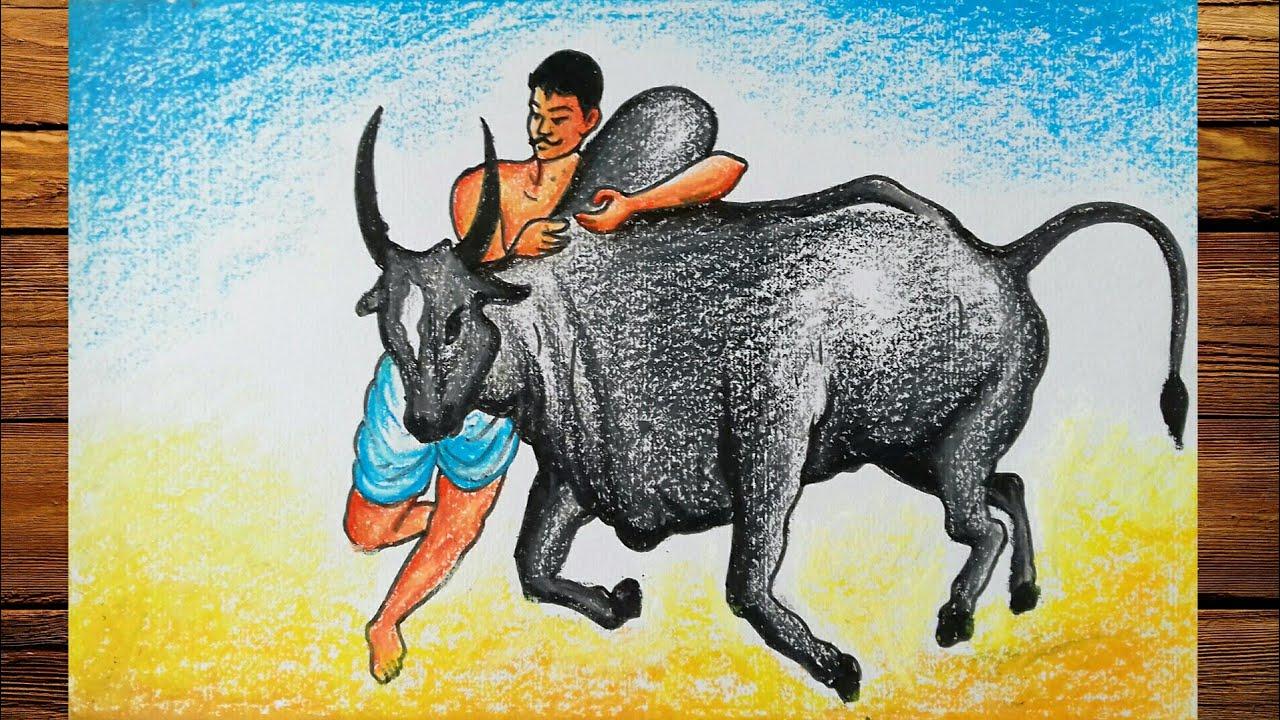 Pongal Jallikattu Drawing How To Draw Jallikattu With Pastel Color Youtube