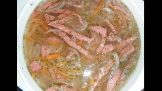 Суп с копчёной колбасой или мясом в микроволновке