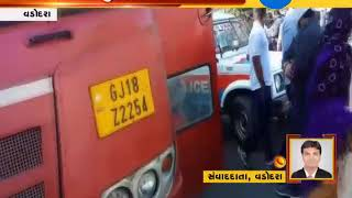 Vadodara : Accident between ST Bus & Activa at Susen Circle, young woman injured