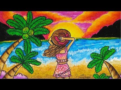 Cara Menggambar dan Mewarnai PEMANDANGAN SUNSET - MATAHARI TERBENAM di PANTAI yang Bagus dan Mudah