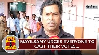 Actor Mayilsamy urges everyone to Cast their Votes – Thanthi Tv