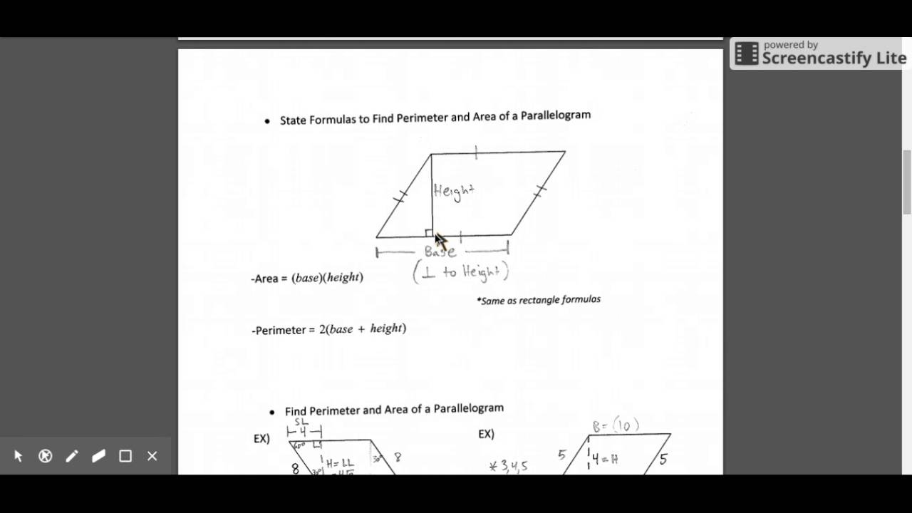 Perimeter And Area Of A Triangle Parallelogram And Rhombus Part I