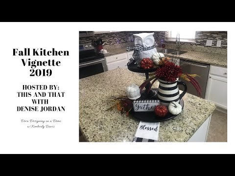Fall Kitchen Vignette 2019 | Fall Decor Ideas | Black & White Buffalo Check #fallkitchenvignette2019