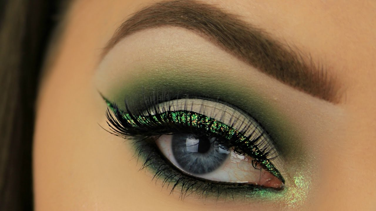 St Patricks Day Makeup 2017 Cut Crease And Glitter Liner Youtube