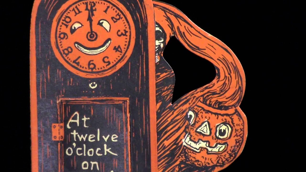 Vintage beistle halloween decorations - A Vintage Halloween Minute With Mbl 06 Beistle Grandfather S Clock Invitation