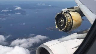 Plane Engine Explodes Over The Ocean