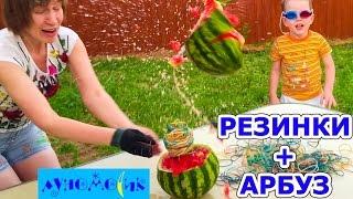 Взрываем арбуз резинками! Опыт с резинками: как взорвать большой арбуз? Explosion Watermelon slow-mo