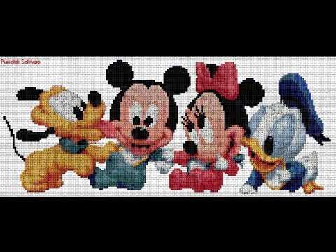 Patrones Especial Mickey Y Minnie | Aprende A Hacer Punto De Cruz Paso A Paso