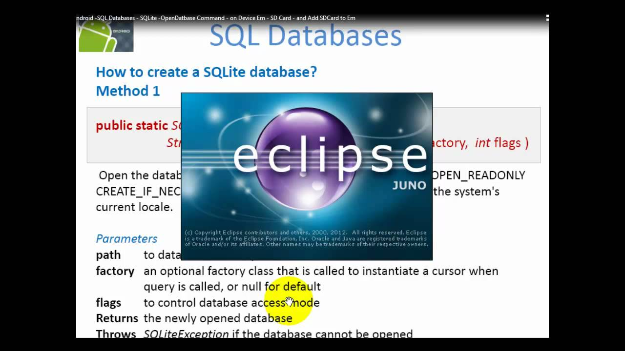 43 Android SQL Databases SQLite OpenDatabase Command on Device Memory SD  Card and Add SDCard to Emulator Level 2
