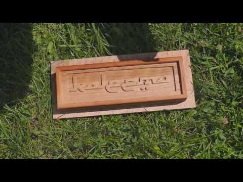 hand carved and routed wooden name plate