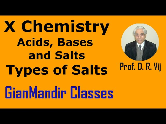 X Chemistry | Acids, Bases and Salts | Types of Salts | Introduction by Gaurav Sir