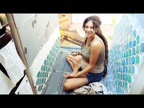 EP #35: Handmade Fishscale Shower Tiles In A School Bus Conversion // VEGAN BABY BLESSINGWAY