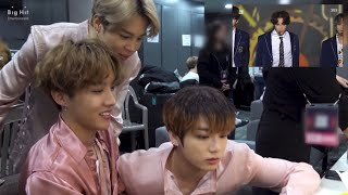 [BIGHIT FAMILY] BTS reaction to TXT BOY IN LUV cover + cute interaction backstage