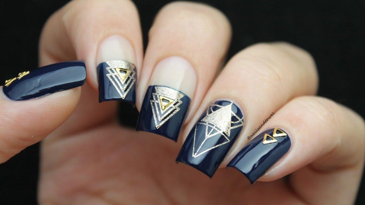 Geometric Stamping Nail Art Tutorial - YouTube