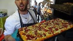 Master Baker Billi making Sourdough Bread Pizza at Breadstall Street Bakery, Northcote Road, London.