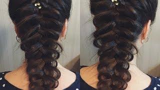 Прическа из косы на средние и длинные волосы