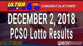 PCSO Lotto Results Today December 2, 2018 (6/58, 6/49, Swertres, STL & EZ2)