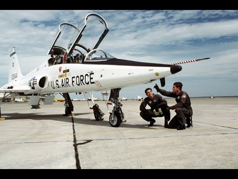 US Air Force T-38 Talon training 02 (engine start, before taxi checks, in flight)
