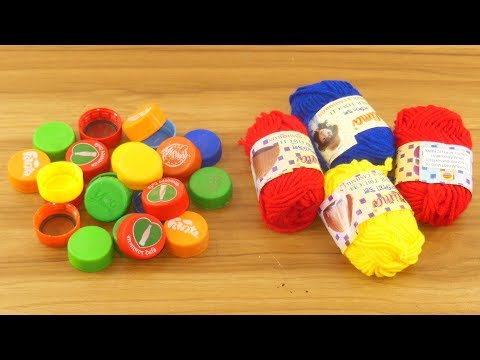 Diy decorating out of plastic bottle caps & woolen | best out of waste