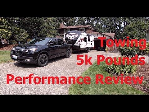2017 Honda Ridgeline RTL-T towing 5k pound 21' travel trailer 750m Review