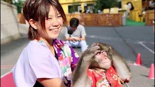 深村亜伽根さんと日本猿きなこのコンビ、笑顔で愛嬌のある、二助企画の...