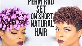 natural hair   perm rod set on short hair no heat