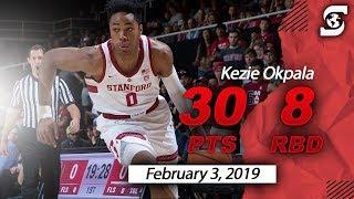 Kezie Okpala Stanford 30pts 8reb vs California