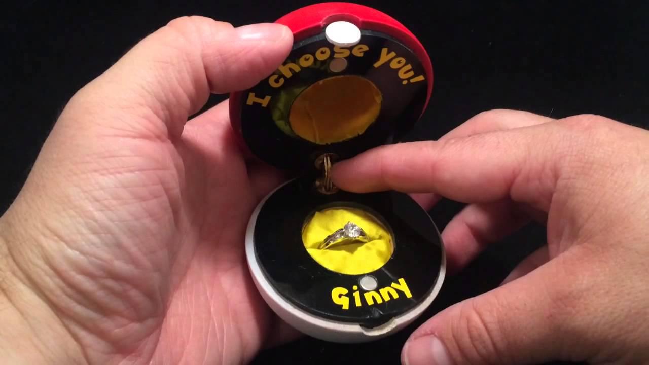 Pok ball custom engagement ring box youtube for Custom made ring box