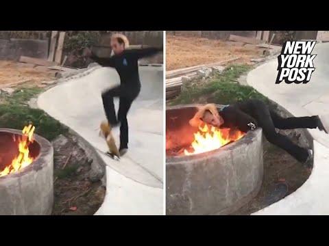 Derek Moore - Watch: Stockton Skateboarder Falls Face First Into Fire Pit