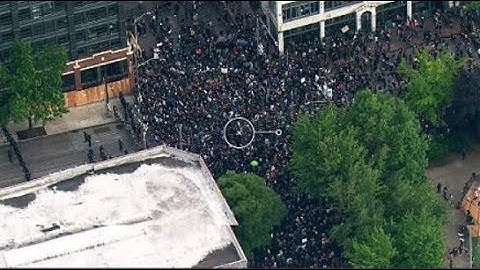 LIVE AERIALS: 5th night of protests in downtown Seattle