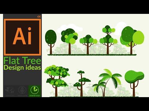 Flat Design Tree Ideas In Adobe Illustrator