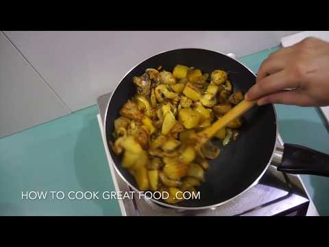 🇬🇧🇮🇳🍅 🍆 Potato Mushroom Indian Fry Recipe Vegan Vegetarian Aloo Curry