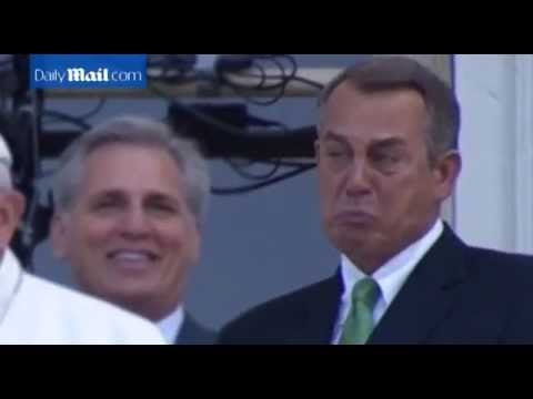 John Boehner cannot contain emotion as Pope speaks