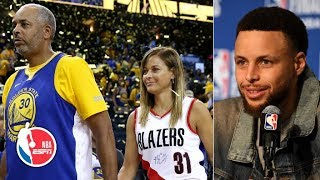 Curry says it was 'weird' to see his mom cheering for him while in Blazers gear | 2019 NBA Playoffs