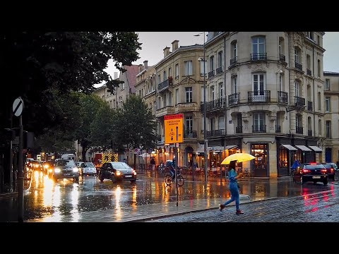 Walking in the Rainy September Evening Ambience [Full video] / ASMR Rain Walk in Bordeaux 4k France