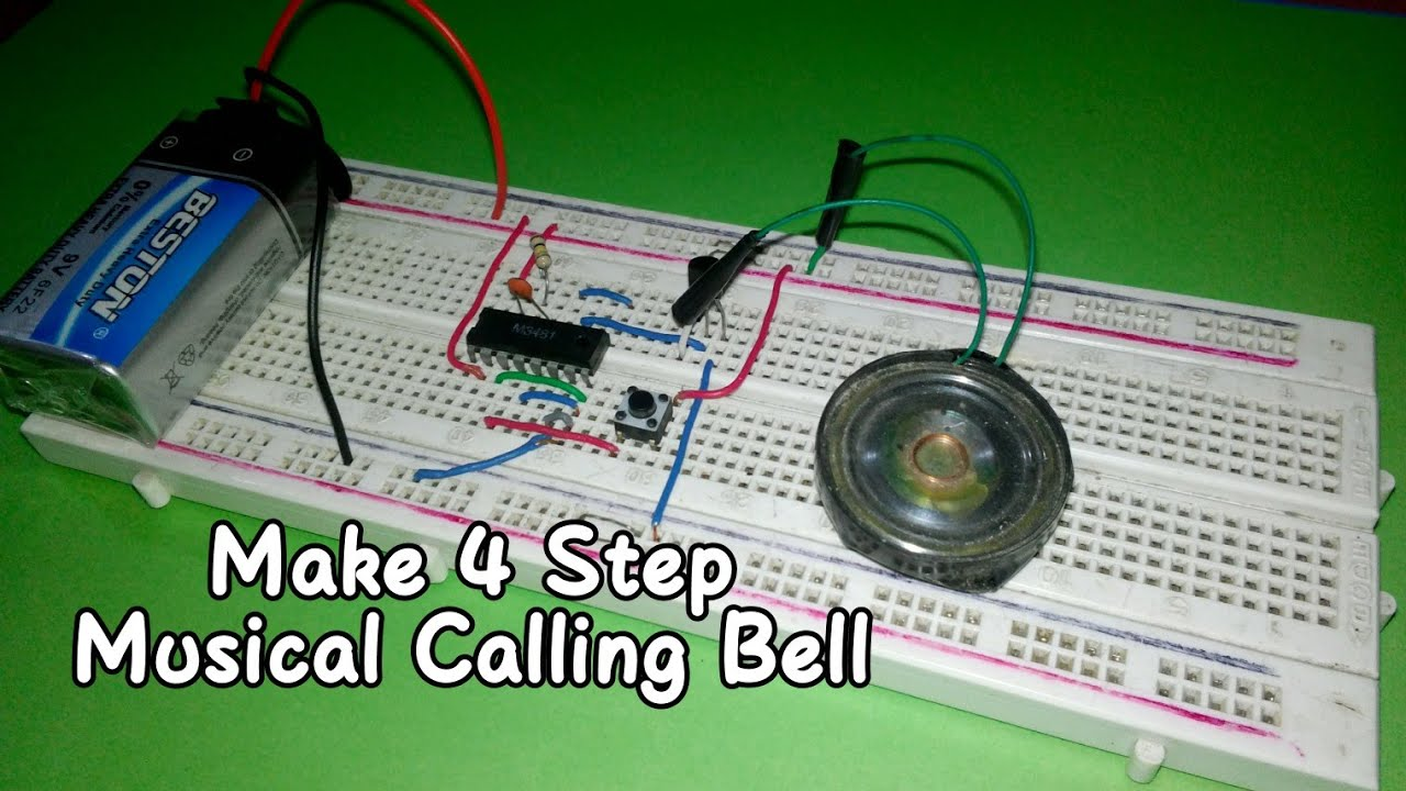 How To Make 4 Steps Musical Calling Bell On Breadboard Youtube Simple Ic 555 Door Circuit Diagram Image