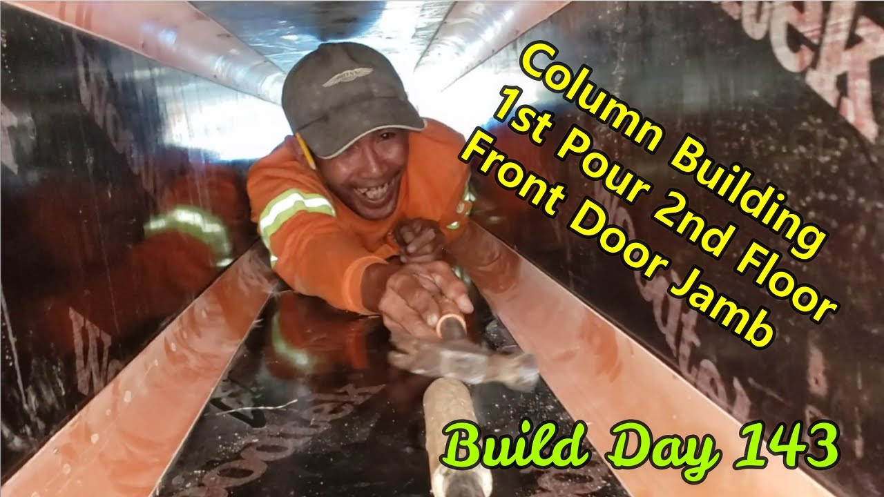 Philippines Beach House Build Day 143:  Second Floor Rising! Forming radius cornered columns