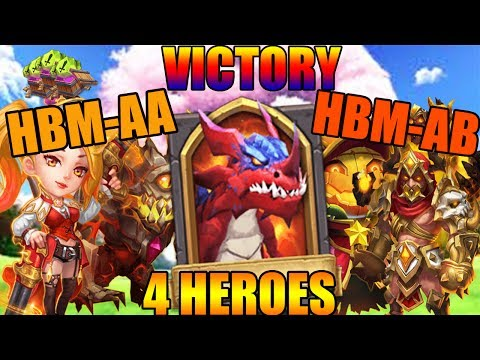 DEFEATING HBM AA & AB WITH ONLY 4 HEROES (NO CUPID OR VAL BUFF) - CASTLE CLASH