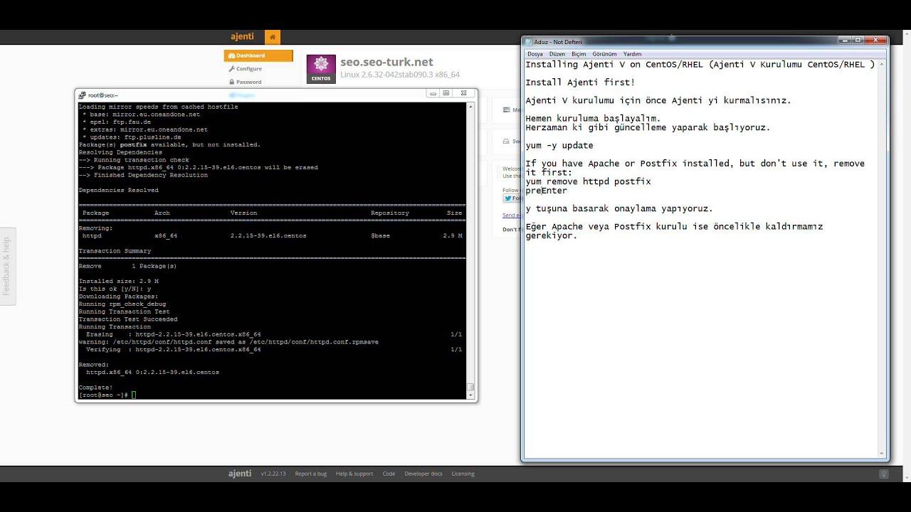 Installing Ajenti V on CentOS | Ajenti V Kurulumu CentOS/RHEL