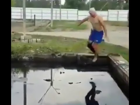 CRAZY russian jump into pool of OIL!