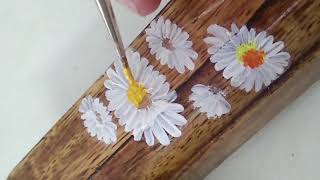 DIY -  Handpaint One Stroke Acrylic White Daisy Flowers on Upcycle Wooden Base