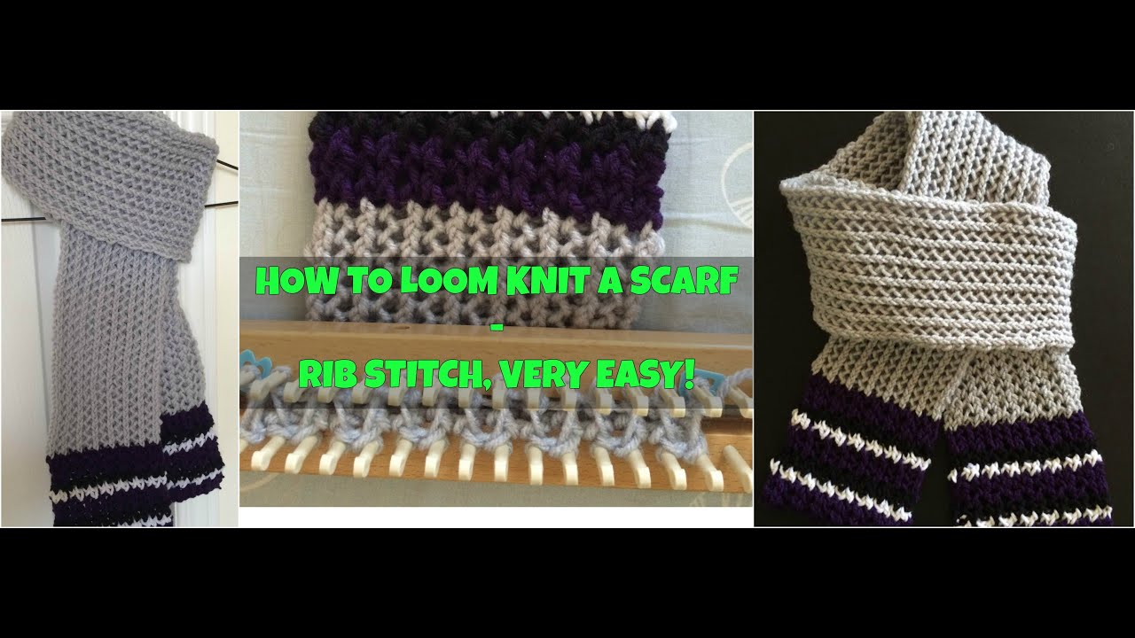 How To Loom Knit A Scarf Honey Comb Stitch Very Easy Youtube