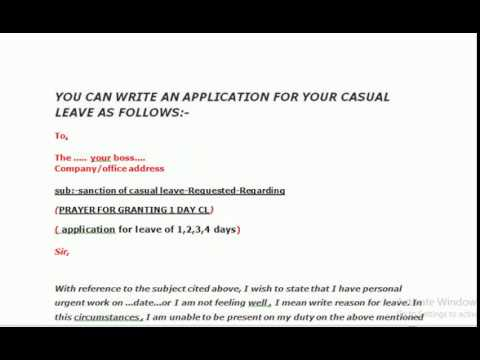 How to write Application letter for Casual leave in professional way - How To Write An Leave Application