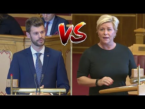 Siv Jensen (FrP) og Bjørnar Moxnes (R) i munnhuggeri om statsbudsjettet 2019