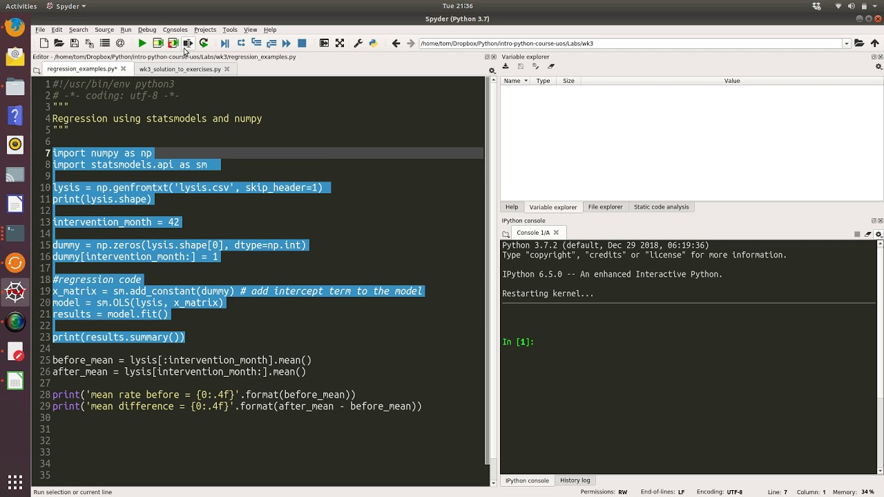 Week 3: Regression example using statsmodels and numpy - YouTube
