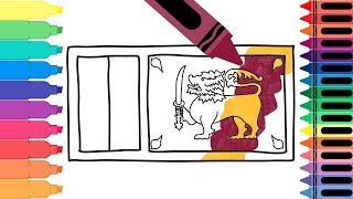 How to Draw Sri Lanka Flag - Drawing the Sri Lankan Flag - Coloring Pages for Kids   Tanimated Toys