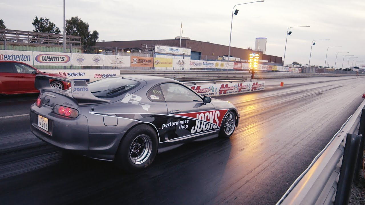 800 HP Toyota Supra pure engine sound - Burnout, launch and ...